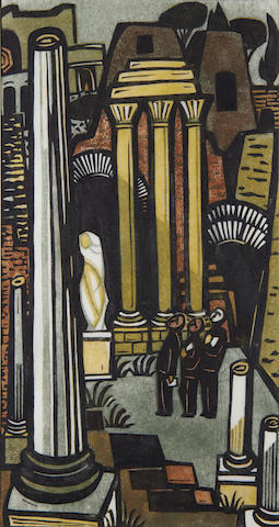 Lill Tschudi (Swiss, 1911-2001) Forum Romanum Linocut printed in colours, titled and numbered 4/50 in pencil, with margins, 382 x 209mm (15 x 8 1/4in)(SH)