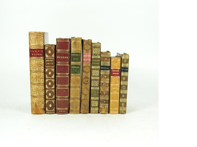 BINDINGS - JOHNSON (SAMUEL) The Works, 12 vol., 1816--POPE (ALEXANDER) The Works, 7 vol., 1770-- LANGHORNE (JOHN and WILLIAM) Plutarch's Lives, 6 vol., 1826--[MACKENZIE, (HENRY)] The Lounger, 3 vol., 1804; The Mirror, 3 vol., 1801--The Spectator, 8 vol., 1808--MOORE (THOMAS) The Works of Lord Byron, 17 vol., John Murray, 1832-33--LELAND (THOMAS) The History of Ireland, 3 vol., 1774, and three others (quantity)