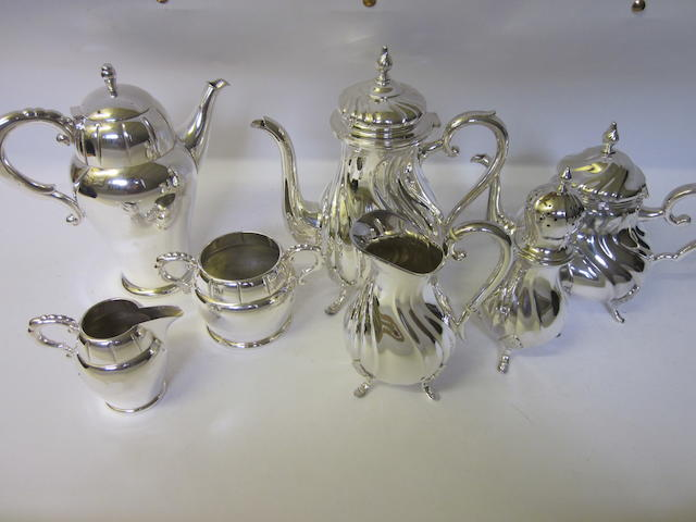 A continental four piece tea and coffee service,   (Two boxes)