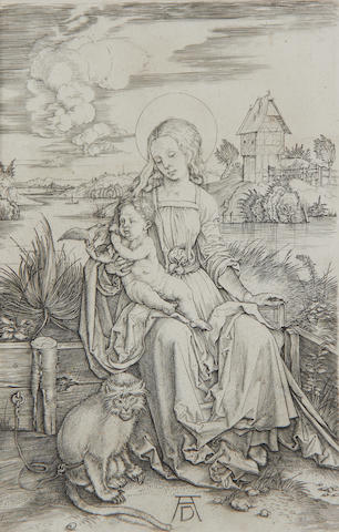Albrecht Dürer (Nürnberg 1471-1528) Virgin and Child with a monkey Engraving, c.1498, a later impression, probably meder L, with some wear and a small hole in the clouds upper centre, on wove, trimmed to platemark, 191 x 124mm (7 1/2 x 4 7/8in)(PL)