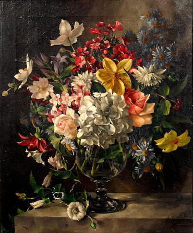 Harold Clayton (British, 1896-1979) Still life of mixed flowers in a glass vase