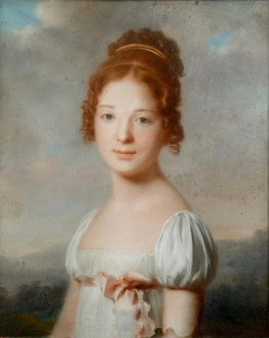 English School, 19th century Portrait of girl, three-quarter length, in a landscape; and Portrait of a lady wearing a pearl choker and 46.5 x 38cm (19 1/4 x 15in)