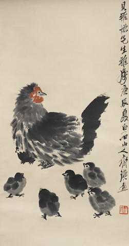 Qi Baishi (1863-1957) Hen and Six Chicks, dated to the Gengchen year, corresponding to 1940