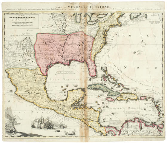 FLORIDA AND MEXICO SCHENCK (PETER) Tabula Mexicae et Floridae [1705 or later]