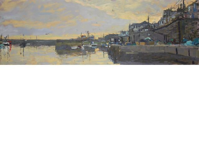 Ken Howard R.A. (British, born 1932) Harbour scene