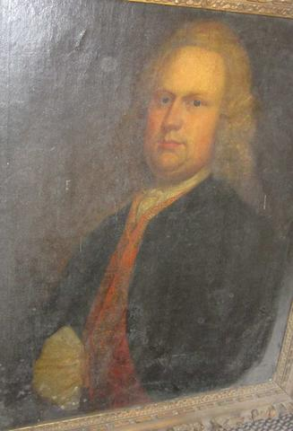 English School 18th. Century Portrait of gentleman possible Thomas Putt of Combe Estate Gittisham
