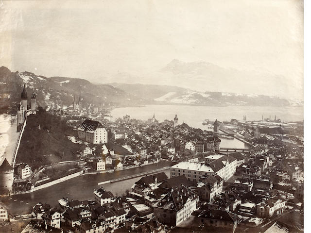 FRITH (FRANCIS) A group of six European views, including two large format views of Lucerne [c.1867]; together with a Frith Series view of Ambleside Mill (7)