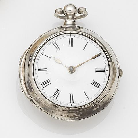 John Hastler, London. A silver key wind pair case pocket watchMovement No.101, London Hallmark for 1757
