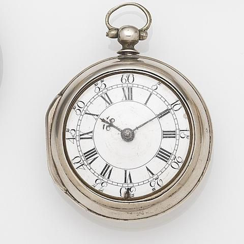 Hugh Gordon, Aberdeen. A silver key wind pair case pocket watchMovement No.193, London Hallmark for 1754