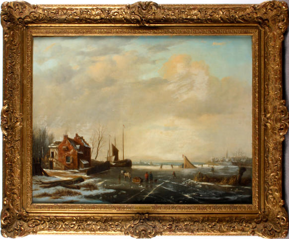 Dutch School, 19th Century Ice skating scene