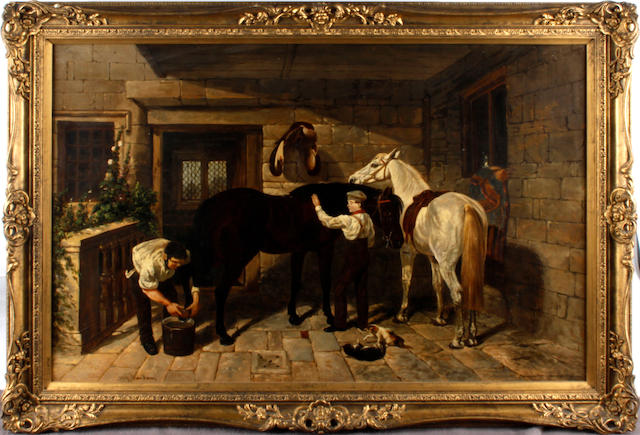 W** G** Meadows (British, 19th Century) Stable scene
