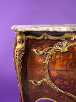 A French late 19th century ormolu-mounted marquetry bombé commode by Zwiener Jansen successeur, Paris