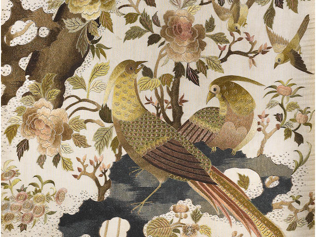 A set of four embroidered silk panels 20th century