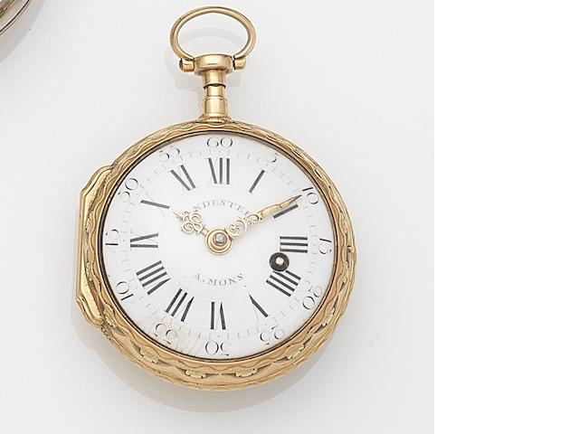 Vandesteen, Mons. A tri-colour gold key wind open face pocket watchMovement No.316, Circa 1800