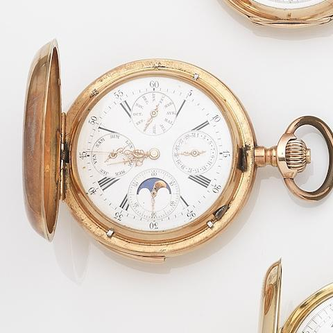 Swiss. A 14ct gold keyless wind minute repeating calendar pocket watchCase No.2733, Circa 1890