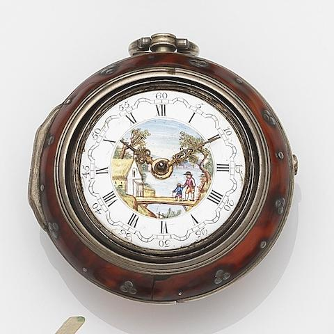J. May, London. A late 18th century silver gilt and tortoiseshell pair case pocket watch with painted dialCirca 1790