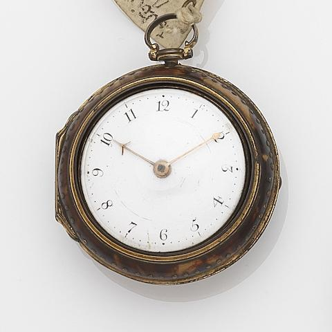 Jonathan Nicholson. An 18th century painted horn and gilt metal pair case pocket watchCirca 1790