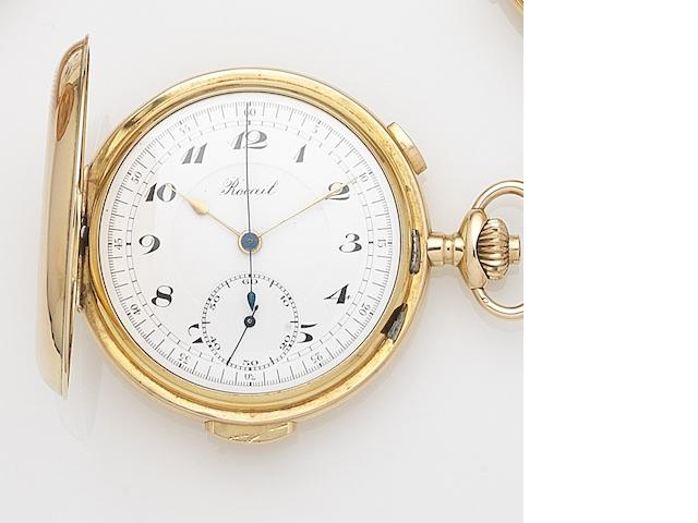 Rocail. A 14ct gold keyless wind full hunter minute repeating chronograph pocket watchCase No.659/84659, Circa 1890