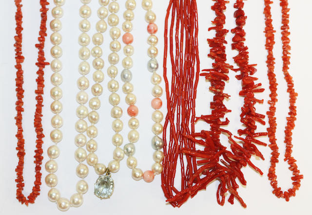 A collection of coral and cultured pearl necklaces, (7)