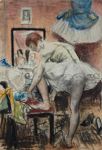 Dame Laura Knight R.A., R.W.S. (British, 1877-1970) Tying her shoes