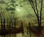John Atkinson Grimshaw (British, 1836-1893) At the park gate