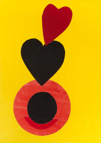 Sir Terry Frost R.A. (British, 1915-2003) Untitled with two hearts