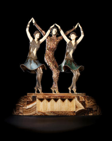 Demetre Chiparus (1886-1947) 'The Finale' an Impressive Large Size Cold-Painted Bronze and Carved Ivory Group, circa 1925