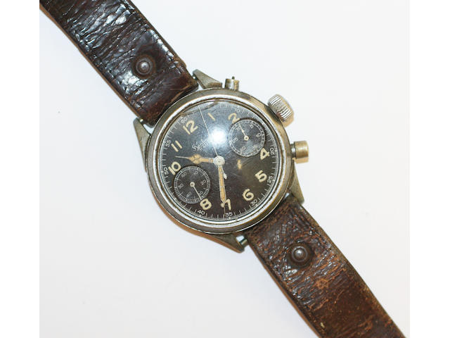Hanhart: A stainless steel manual wind military chronograph wristwatch (AF), case No.118205, circa 1940,