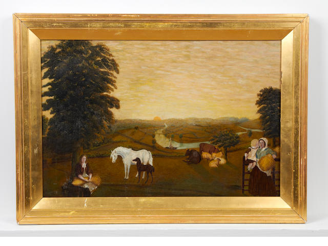 English Naïve School, (later 19th century) Figures, horses and cattle in a pasture with a river beyond