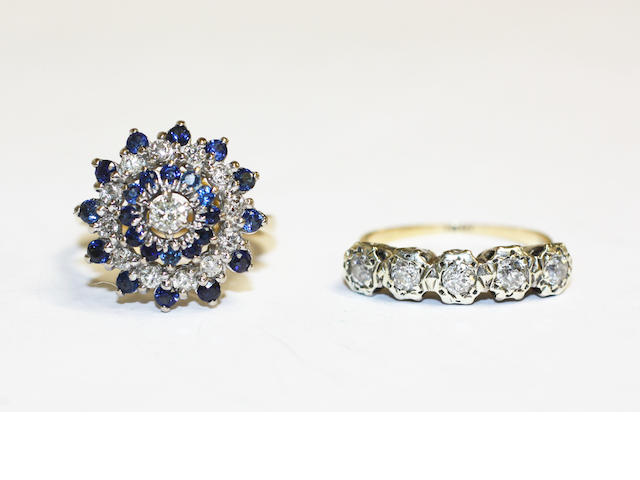 A sapphire and diamond cluster ring and a diamond five stone ring, (2)