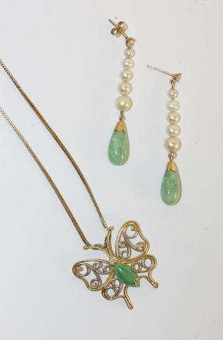A jade and diamond pendant and a pair of earpendants,  (2)