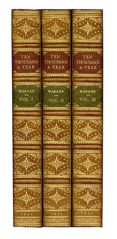 WARREN (SAMUEL) Ten Thousand A-Year, 3 vol., calf by Riviere, 1841