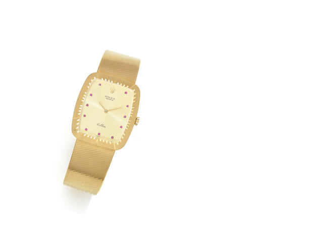 Rolex. An 18ct gold and ruby set manual wind bracelet watchCellini, Ref:4322, Serial No.692****, Circa 1981