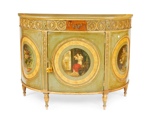 A late Victorian polychrome decorated demi-lune side cabinet in the George III style
