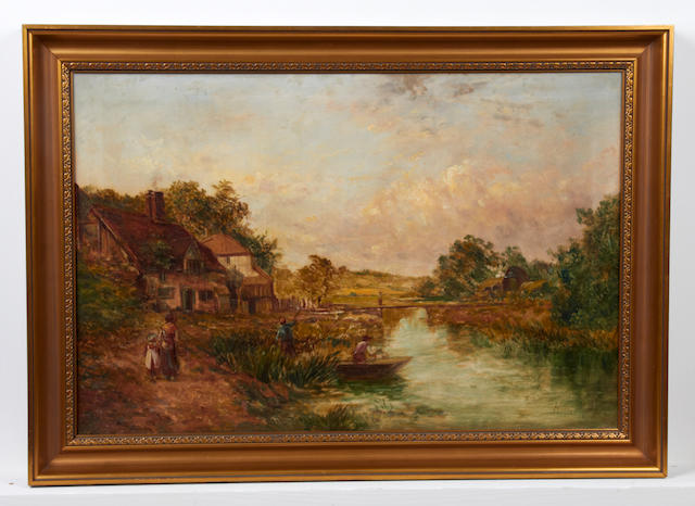 British School, (19th Century) 'Near Marlom', figures walking beside a river towards a cottage