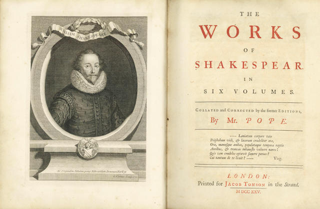 SHAKESPEARE (WILLIAM) The Works... Collated and Corrected by the former Editions, By Mr. Pope, 1725, 6 vol.