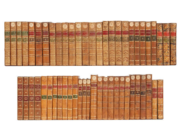 BINDINGS FIELDING (HENRY) The History of Tom Jones, 4 vol., 1773; and 57 others, mostly good eighteenth century calf bindings (61)