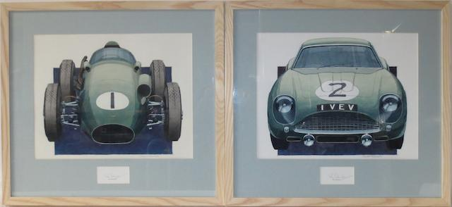 Charles Hannah, a pair of Aston Martin race car paintings, with signatures of Roy Salvadori,