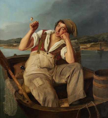 Meyer Michaelson (German, active 1830-1836) A fisherman smoking