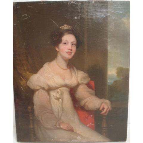 English School, 19th Century Portrait of a Lady seated by a Window