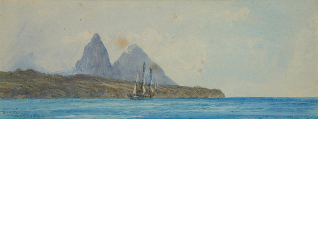 William Lionel Wyllie (British, 1851-1931) 'The Pitons of St Lucia'