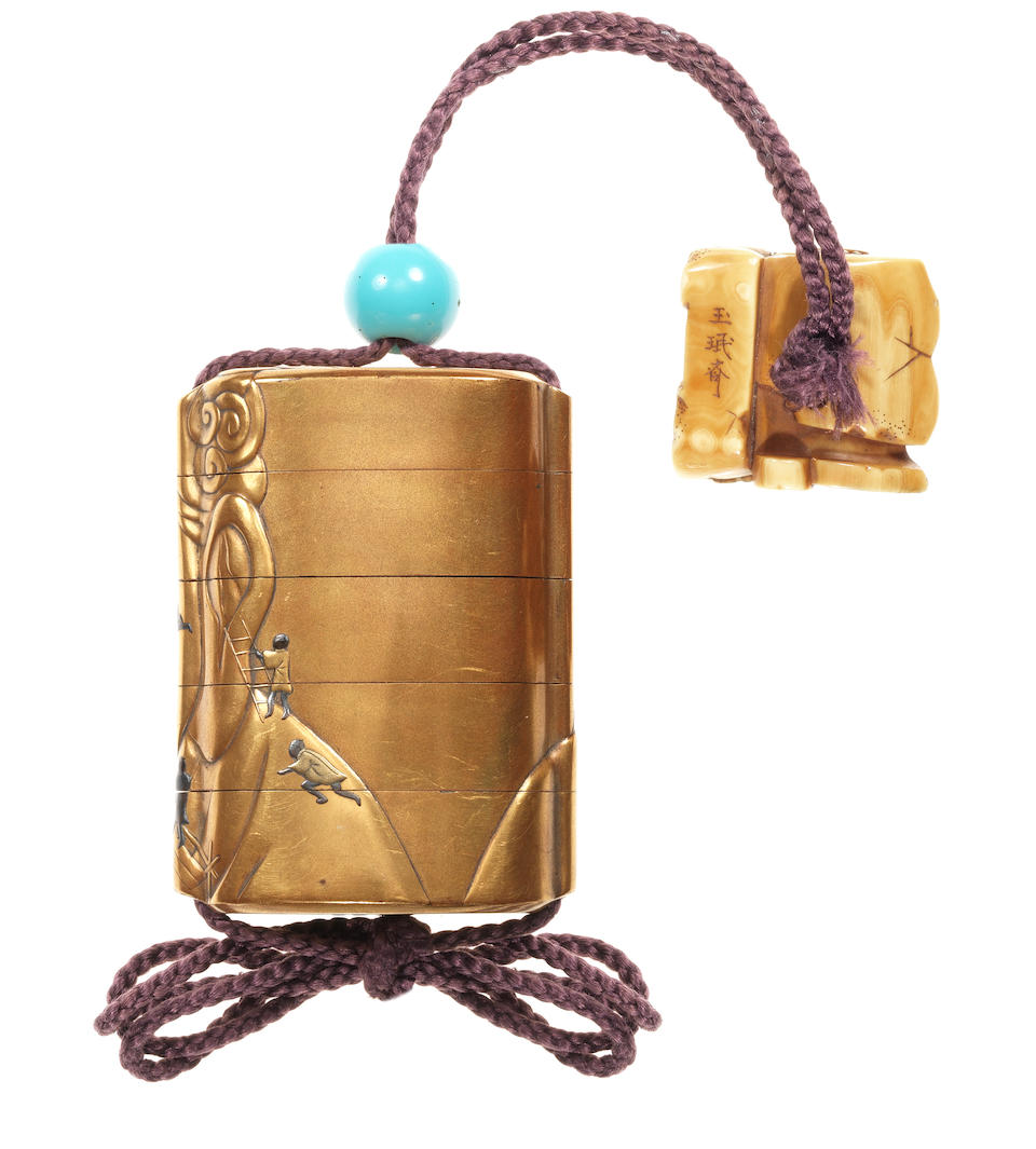 A gold lacquer four-case inro By Koshun, late 19th century