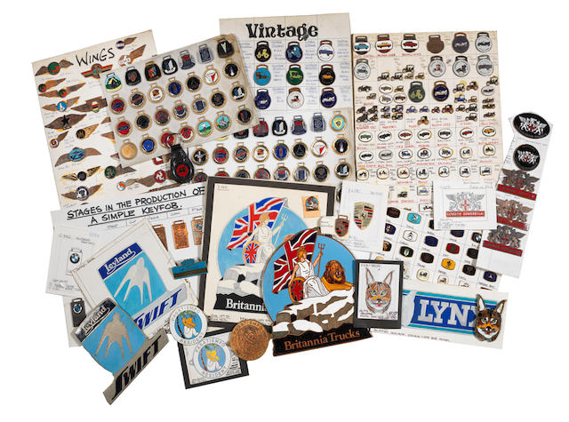 A large archive of motoring and aviation enamelled plaques, badges, lapel pins and key-fobs from Manhattan-Windsor Products Limited of Birmingham,