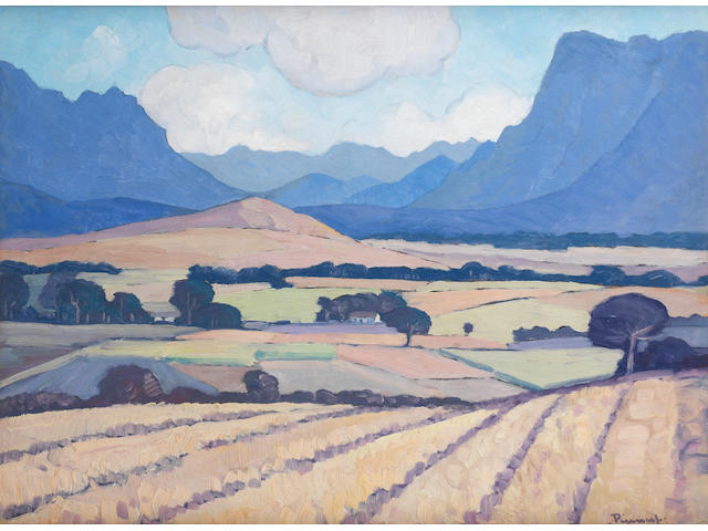 Jacob Hendrik Pierneef (South African, 1886-1957) Wheatfields near Stellenbosch