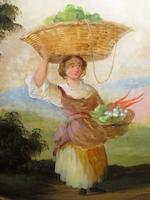 Continental School A pair of crystolian pictures, of a young women and man with baskets of produce 38cm x 45cm.