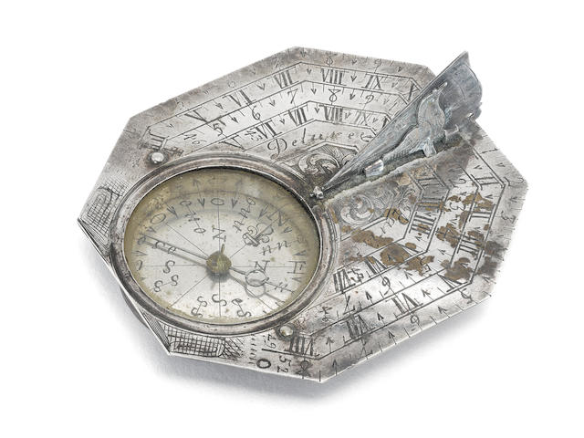 A Delure silver Butterfield dial, early 18th century,