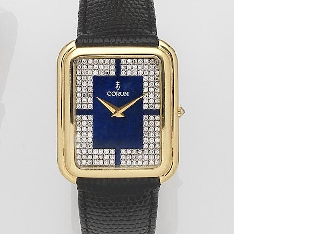 Corum. An 18ct gold and diamond set manual wind wristwatchCase No.179779, Movement No.144217, Circa 1975