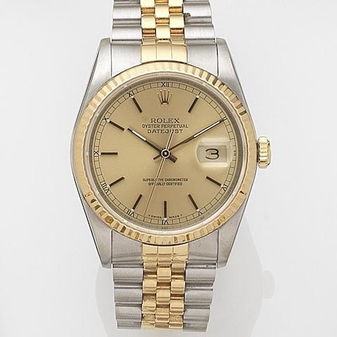 Rolex. A stainless steel and gold automatic calendar bracelet watchDatejust, Ref:16233, Serial No.L85****, Movement No.543****, Sold 2nd May 1990