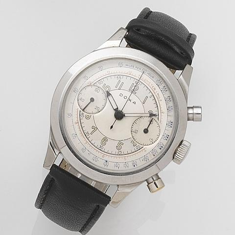 Doxa. A stainless steel manual wind chronograph wristwatchCase No.4550915, Circa 1950