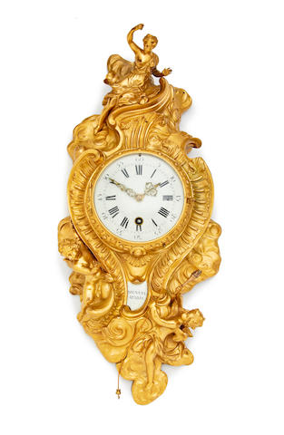 A fine 18th century ormolu cartel clock with five minute pull repeat on 3 bells Mynuel, Paris